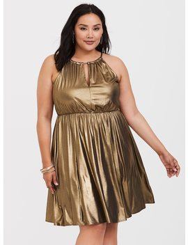 Gold Shimmer Halter Skater Dress by Torrid