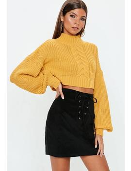 Black Corduroy Lace Up Front Mini Skirt by Missguided