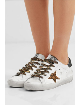 Superstar Leopard Print Calf Hair And Distressed Leather Sneakers by Golden Goose Deluxe Brand