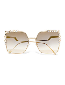 Can Eye Square Frame Studded Gold Tone Sunglasses by Fendi