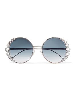 Round Frame Crystal Embellished Gold Tone Sunglasses by Fendi