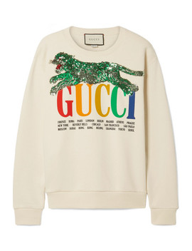 Oversized Embellished Printed Cotton Terry Sweatshirt by Gucci