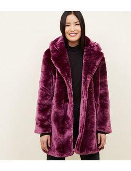 Qed Dark Purple Teddy Faux Fur Coat by New Look