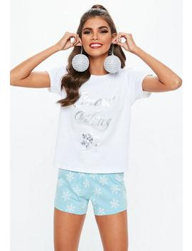 Blue 'snow Way' Shorts And T Shirt Boxed Pyjama Set by Missguided