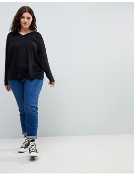 Asos Curve Top With V Neck In Oversized Lightweight Rib by Asos Curve