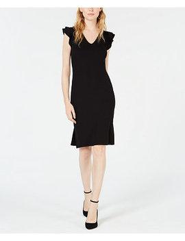 Ribbed Ruffle Shoulder Sheath Dress, Created For Macy's by Bar Iii