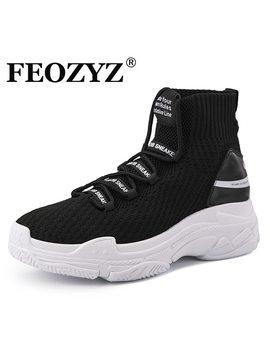 Feozyz Shark Sneakers Women Men Knit Upper Breathable Sport Shoes Chunky Shoes High Top Running Shoes For Men Women  by Feozyz