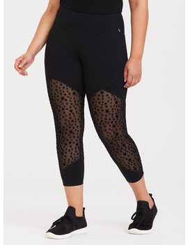 Black Star Mesh Crop Active Legging by Torrid