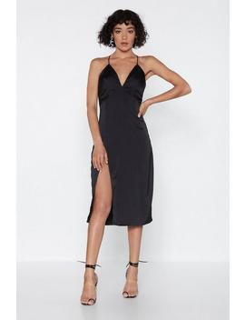 Leg Up On The Competition Satin Dress by Nasty Gal