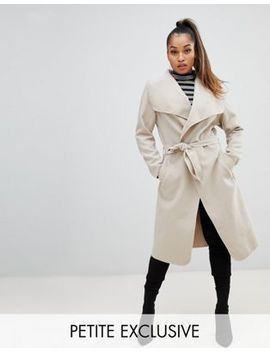 Boohoo Petite Belted Shawl Coat In Stone by Boohoo