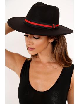 Black Red Stripe Ribbon Fedora   Sirena by Rebellious Fashion
