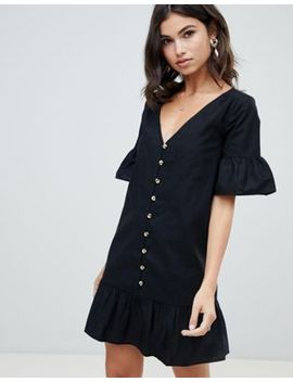 Asos Design Casual Button Through Mini Smock Dress With Frill Hem by Asos Design