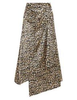 Petite Brown  Leopard Print Satin Button Waist Midi Skirt by Prettylittlething