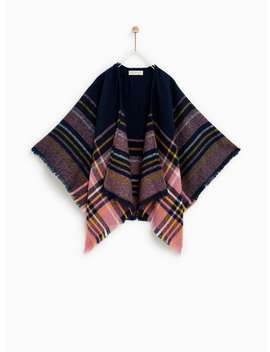 Plaid Poncho  View All Accessories Girl by Zara
