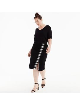 Universal Standard For J.Crew French Terry Slit Skirt With Track Stripe by J.Crew
