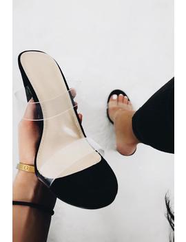 Black Faux Suede Clear Strap Heels   Rochella by Rebellious Fashion