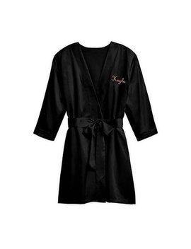 Personalized Black Kimono   Size S/M   Black Robe   Personalized Robe   Customized Robe   Valentine's Day Gift   Mother's Day   Ladies Robe by Etsy