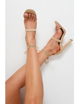 Beige Faux Suede Toe Ring Lace Up Heels   Stacia by Rebellious Fashion
