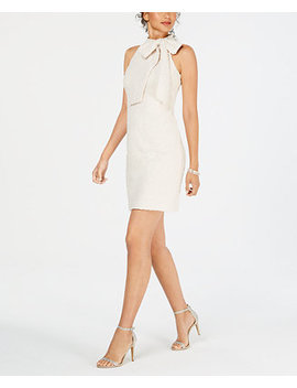 Tie Neck Boucle Shift Dress by Vince Camuto
