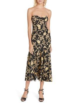 Annika Floral Print Strapless Stretch Silk Dress by Veronica Beard