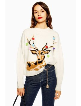 Christmas Stag Pom Pom Jumper by Topshop