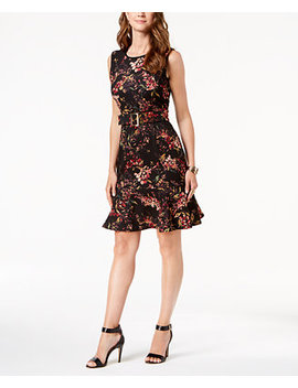 Belted Floral Print Fit & Flare Dress by Ivanka Trump