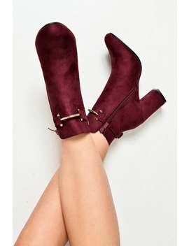 Wine Faux Suede Gold Buckle Detail Ankle Boots   Jynelle by Rebellious Fashion