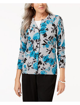 Petite Floral Print Cardigan, Created For Macy's by Karen Scott