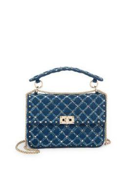 Medium Rockstud Spike Denim Shoulder Bag by Valentino Garavani
