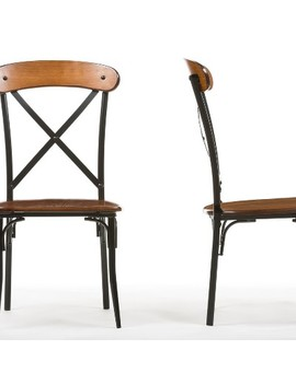 Set Of 2 Broxburn Wood & Metal Dining Chairs Brown   Baxton Studio by Baxton Studio