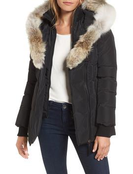 Hooded Down Parka With Inset Bib & Genuine Fox Fur Trim by Mackage
