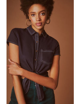 Me To We Contrast Stitch Tie Front Top by Pacsun