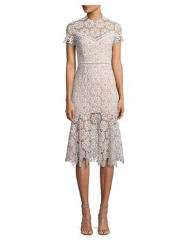 Two Tone Embroidered Midi Dress by Neiman Marcus