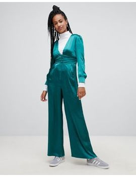 Glamorous Premium Wide Leg Jumpsuit In Luxe Satin by Glamorous