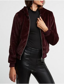 Faux Fur Hooded Jacket by Charlotte Russe