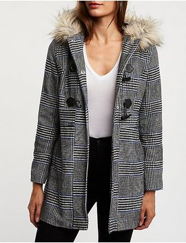 Glen Plaid Hooded Peacoat by Charlotte Russe