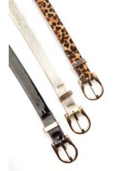 Love Me 3 Times Belt Set   Leopard/Black/Gold by Fashion Nova