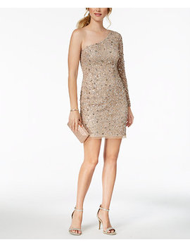 One Shoulder Sequined Mesh Dress by Adrianna Papell
