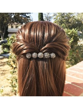 Women Hair Barrettes, Adult Hair Clips, Druzy Hair Pins, Druzy Hair Jewelry For Bridesmaid, Thin Headpiece For Half Up Half Loose Hair by Etsy