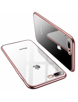 Torras Crystal Clear I Phone 8 Plus/I Phone 7 Plus, [Upgraded] Soft Cover Case With Electroplated Frame Ultra Slim Tpu Gel Case For I Phone 7 Plus/8 Plus, Clear Back&Rose Gold Frame by Torras