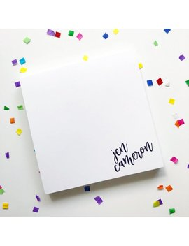 Square Personalized Notepad With Contemporary Script In The Corner by Etsy