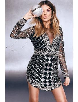 Premium Plunge Sequin Embellished V Hem Dress by Boohoo