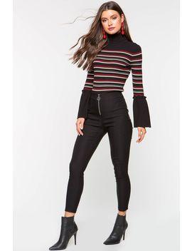 Zip Front Skinny Dressy Pant by A'gaci
