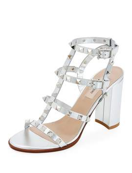 Rockstud Strappy Metallic Leather Block Heel Sandals by Valentino Garavani