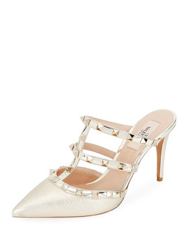 Rockstud Metallic Leather Mule Slide by Valentino Garavani