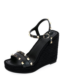 Rockstud Leather Wedge Sandals by Valentino Garavani