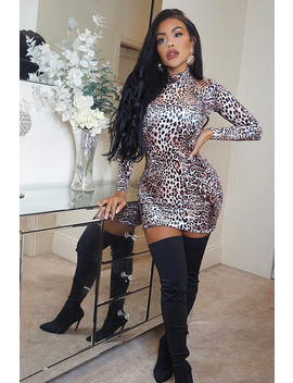 Leopard Velvet High Neck Mini Dress   Solara by Rebellious Fashion