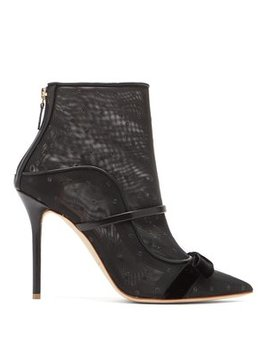 Claudia Mesh And Leather Ankle Boots by Matches Fashion