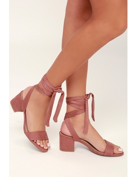 Trinidad Dusty Rose Suede Lace Up Heels by Lulu's