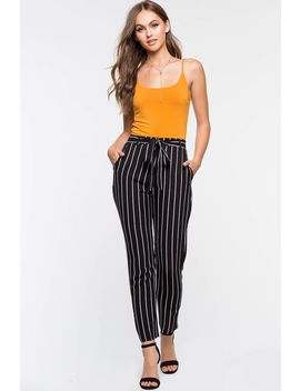 Stripe Tie Front Pocket Trouser Pant by A'gaci